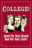 College Good For Your Brain Bad for Liver Funny Retro Plastic Sign Plastic Sign by  Retrospoofs