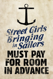 Street Girls Bringing in Sailors Plastic Sign Plastic Sign