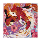 Koi and Cherry Blossoms Lámina giclée por Natasha Wescoat