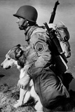 Soldier and Sled Dog 1942 Archival Photo Poster Photo