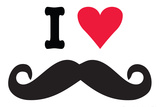I Heart Love Mustaches Funny Plastic Sign Wall Sign