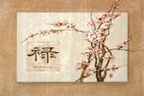 Oriental Prosperity Floral Plastic Sign Plastic Sign