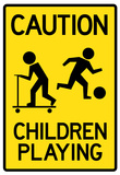 Caution Children Playing Sign Poster Print