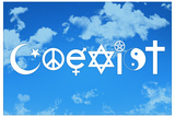 Coexist Sky Motivational Plastic Sign Plastic Sign