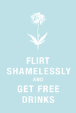 Flirt Shamelessly and Get Free Drinks Humor Plastic Sign Wall Sign