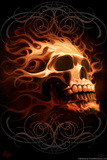Fire Skull by Tom Wood Plastic Sign Wall Sign