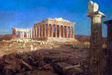 Frederick Edwin Church The Parthenon Plastic Sign Plastikskilte af Fredrick Edwin Church