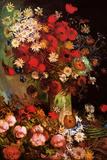 Vincent Van Gogh Vase with Poppies Cornflowers Peonies and Chrysanthemums Plastic Sign Plastikskilte af Vincent van Gogh