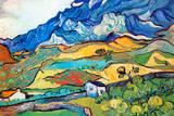 Vincent Van Gogh Les Alpilles a Mountain Landscape near Saint-Remy Plastic Sign Plastskilt av Vincent van Gogh