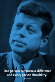 John F. Kennedy Make A Difference iNspire Quote Plastic Sign Signes en plastique rigide