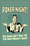 Poker Night Game Over When Rent Money's Gone Funny Retro Plastic Sign Plastic Sign