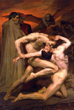 William-Adolphe Bouguereau Dante And Virgil In Hell Plastic Sign Wall Sign by William Adolphe Bouguereau