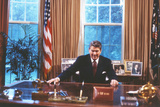 President Ronald Reagan in Oval Office Plastic Sign Wall Sign