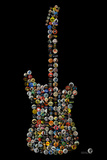 Classic Guitar Rock Buttons by Gdogs Cosmic Rock Plastic Sign Wall Sign