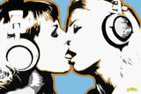 Steez Girls Kissing Plastic Sign Wall Sign by  Steez