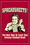 Spreadsheets Best Way Track Fantasy Football Draft Funny Retro Plastic Sign Wall Sign