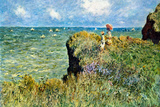 Claude Monet Walk on the Cliffs Plastic Sign Plastic Sign by Claude Monet