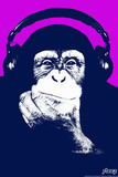 Steez Headphone Chimp - Purple Plastic Sign Wall Sign by  Steez