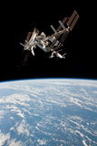 Space Shuttle Endeavor Docked at International Space Station 2 Photo Poster Posters