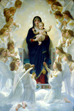William-Adolphe Bouguereau The Virgin With Angels Plastic Sign Plastic Sign by William Adolphe Bouguereau