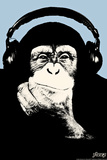 Steez Headphone Chimp - Blue Plastic Sign Wall Sign by  Steez