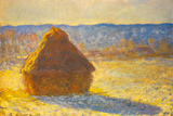 Claude Monet Haystacks Snow Morning Plastic Sign Plastic Sign by Claude Monet