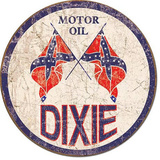 Dixie Gas - Weathered Round Tin Sign Tin Sign