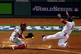 Boston, MA - Oct 30: 2013 World Series Game 6, Red Sox v Cardinals - Jonny Gomes and Yadier Molina Photographic Print by Jim Rogash