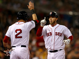 Boston, MA - Oct 30: 2013 World Series Game 6, Red Sox v Cardinals - Stephen Drew & Jacoby Ellsbury Photographic Print by  Elsa