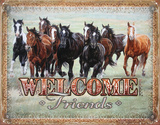 Welcome Friends - Horses Tin Sign Tin Sign