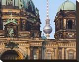 Berlin Cathedral with Television Tower, Berlin, Germany Stretched Canvas Print