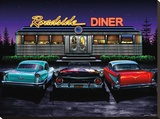 Roadside Diner Stretched Canvas Print by Helen Flint