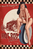 Bettie Page Hot Rod by Retro-A-Go-Go Poster Prints