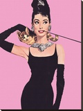Audrey Hepburn (Pink) Stretched Canvas Print