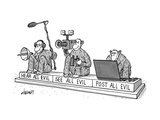 Three monkeys sit on a pedestal, each holding sound equipment, a film came… - New Yorker Cartoon Premium Giclee Print by Tom Cheney