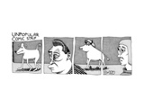 A four-paneled comic strip with a  person facing the rear end of a bull wh… - New Yorker Cartoon Premium Giclee Print by J.C. Duffy
