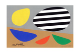 Three Birds with Striped Egg Giclee Print by Jerry Kott