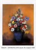 Anemonen und Lilacs in blauer Vase Art by Odilon Redon
