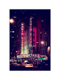 Radio City Music Hall and Yellow Cab by Night, Manhattan, Times Square, NYC, Old Vintage Colors Photographic Print by Philippe Hugonnard