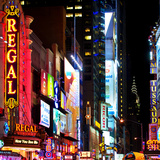 Square View, Urban Scene by Night at Times Square, Buildings by Night, Manhattan, New York, US, USA Photographic Print by Philippe Hugonnard