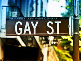 Urban Sign, Gay Street, Greenwich Village District, Manhattan, New York, USA, Colors Photography Photographic Print by Philippe Hugonnard