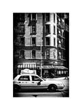 Urban Scene with Yellow Cab on the Upper West Side of Manhattan, NYC, White Frame Photographic Print by Philippe Hugonnard