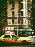Urban Scene with Yellow Cab on the Upper West Side of Manhattan, NYC, Vintage Colors Photography Photographic Print by Philippe Hugonnard
