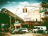 Urban Scene, Coney Island Av and Subway Station, Brooklyn, Ny, US, USA, Vintage Color Photography Photographic Print by Philippe Hugonnard