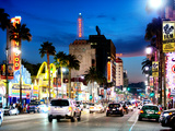Landscape, Night, Hollywood Blvd, Los Angeles, California, United States Photographic Print by Philippe Hugonnard