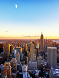 Empire State Building and One World Trade Center at Sunset, Manhattan, New York Stampa fotografica di Philippe Hugonnard
