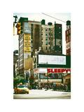 Urban Lifestyle Scene, Yellow Cab, Amsterdam Av, Upper West Side of Manhattan, NYC, White Frame Photographic Print by Philippe Hugonnard