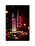 Radio City Music Hall and Yellow Cab by Night, Manhattan, Times Square, NYC, Vintage Colors Photographic Print by Philippe Hugonnard