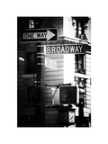 Urban Sign, Broadway, Manhattan, New York, White Frame, Old Black and White Photography Photographic Print by Philippe Hugonnard