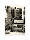 Urban Lifestyle Scene, Yellow Cab, Amsterdam, Upper West Side of Manhattan, NYC, White Frame Photographic Print by Philippe Hugonnard